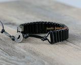 Tube Black Agate Leather Bracelets - d'143 Men's Clothing