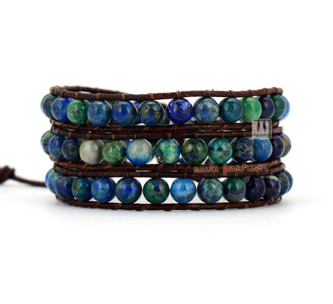 3 Layer Stone Leather Wrap Bracelets - d'143 Men's Clothing