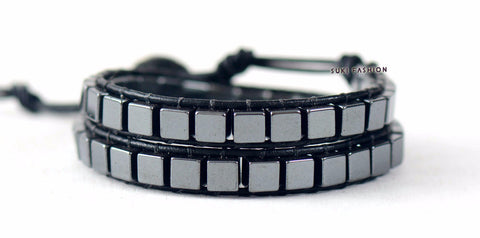 Square Hematite Stone Leather Wrap Bracelet - d'143 Men's Clothing