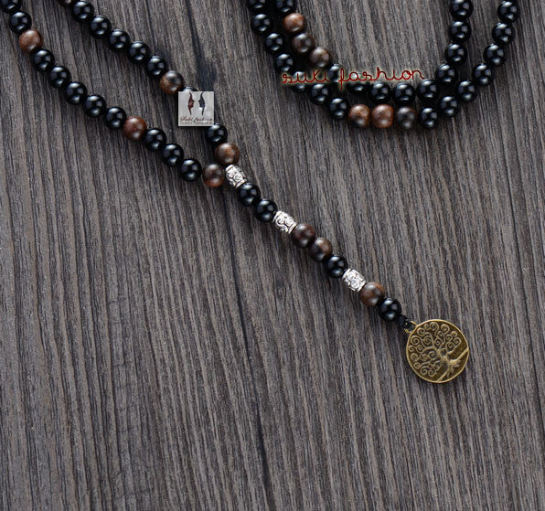 Black Agate Wood Beads with Tree Pendant Necklace - d'143 Men's Clothing