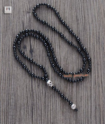 Black Agate Onyx Beads with Skull Necklace - d'143 Men's Clothing