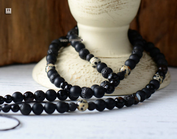 Matte Black Agate Lava Energy Beads Shamballa Necklace - d'143 Men's Clothing