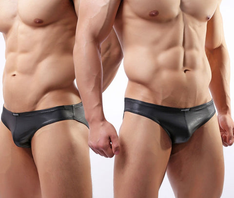 Black Faux Leather Briefs - d'143 Men's Clothing