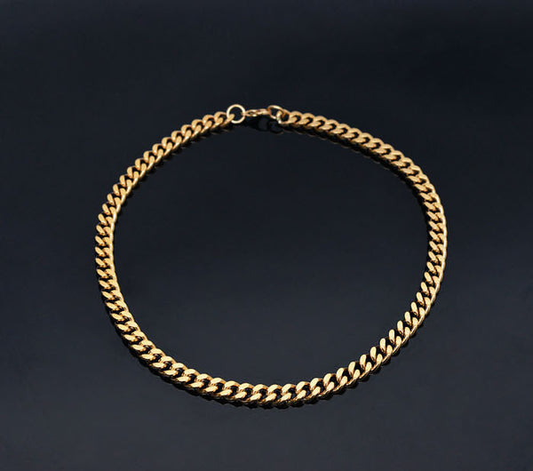 Short Gold Chain Necklace - d'143 Men's Clothing