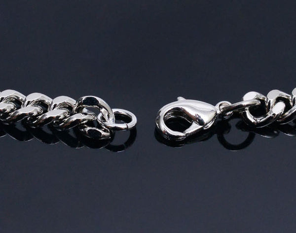 Short Silver Metal Chain Necklace - d'143 Men's Clothing