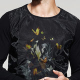 Patchwork Yarn Printed Long Sleeve Shirt - d'143 Men's Clothing