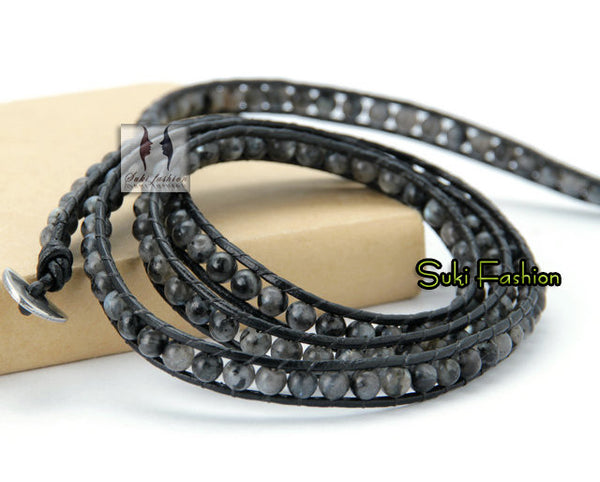 Labradorite 5 Layer Stone Leather Wrap Bracelet - d'143 Men's Clothing