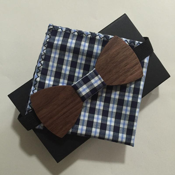 Wood Bow ties and Matching Handkerchief - d'143 Men's Clothing