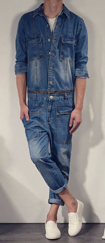 Jean Jumpsuit with Detachable Denim Jacket and Overalls - d'143 Men's Clothing