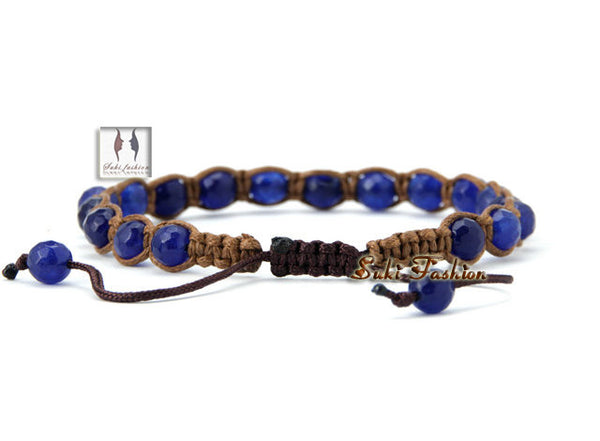 Faceted Blue Stone Wax Cord Wrap Bracelet - d'143 Men's Clothing
