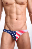 Stars and Stripes Low Waist Briefs Bikini Underwear - d'143 Men's Clothing