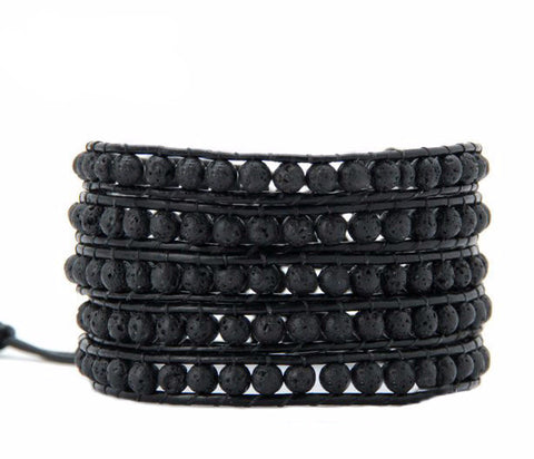 Lava Stone 5 Layer Leather Wrap Bracelet - d'143 Men's Clothing