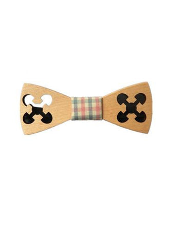 Pastel Engraved Maple Wooden Bow Tie - d'143 Men's Clothing