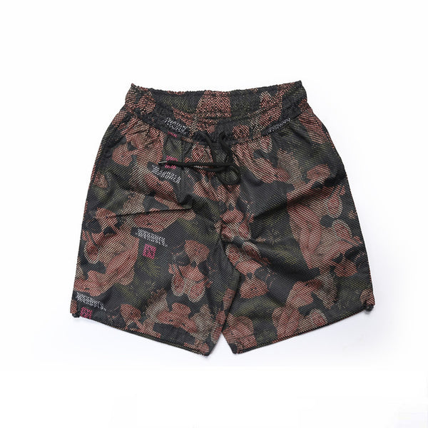 Rosebud Printed Layered Mesh Beach Shorts - d'143 Men's Clothing
