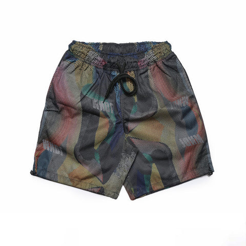 Aurora Print Layered Mesh Beach Shorts - d'143 Mens Clothing