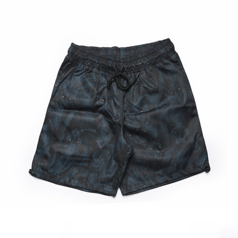 Midnight Blue Layered Mesh Printed Beach Shorts - d'143 Men's Clothing