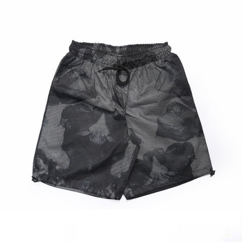 Black and White Layered Mesh Print Beach Shorts - d'143 Mens Clothing