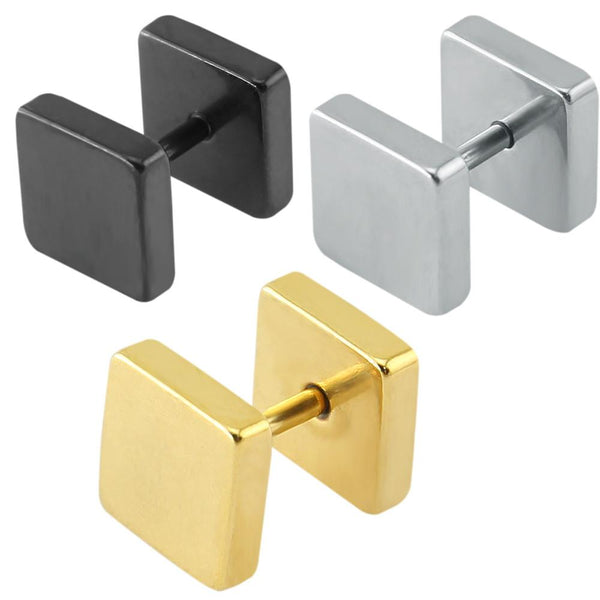 Square Ear Stud Earring (Pair) - d'143 Men's Clothing
