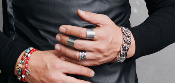 Mid-Finger Riveted Ring - 1 Pair - d'143 Men's Clothing