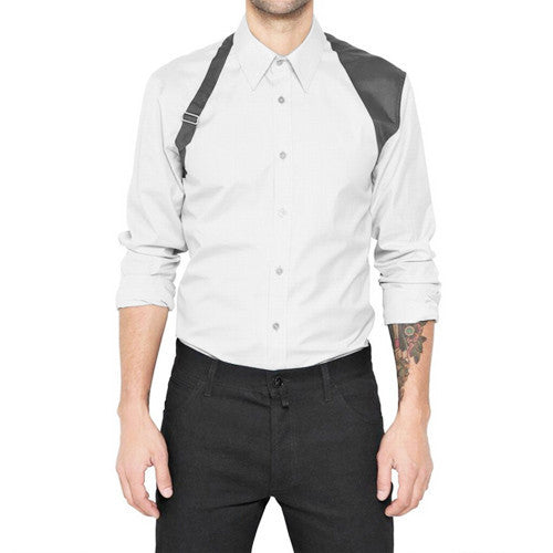 Harness Patched Button-Up Shirt - d'1four3 Mens's Fashion