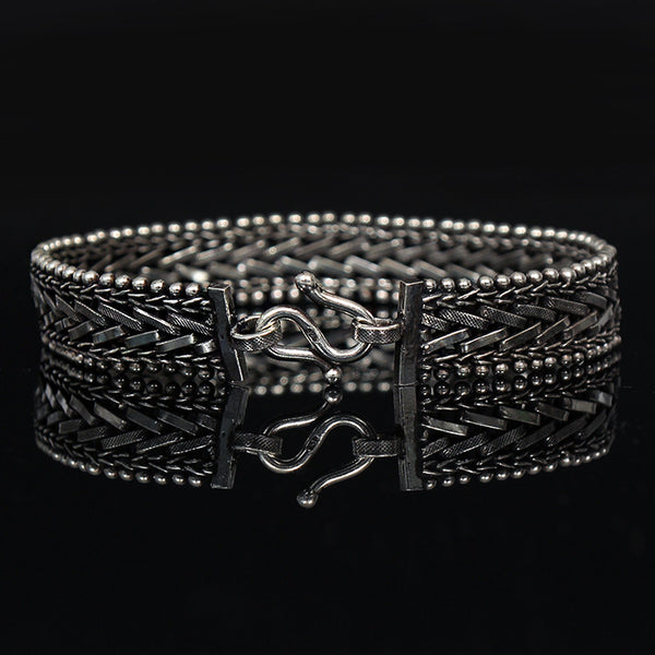 Genuine Sliver Diagonal Chain Bracelet - d'143 Men's Clothing