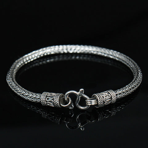 Genuine Sliver Unique Twist Design Bracelet - d'143 Men's Clothing