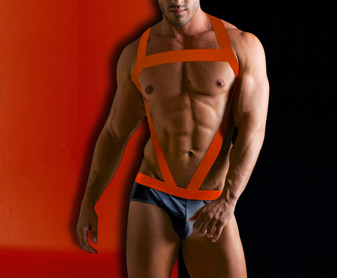 Neon-Orange Harness for Men - d'143 Men's Clothing