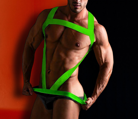 Neon-Green Harness for Men - d'143 Men's Clothing