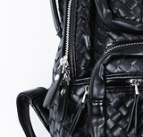 Braided Leather Zipper Backpack and Hand Bag - d'143 Men's Clothing