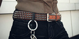 Studded Cowhide Leather Belt - d'143 Men's Clothing