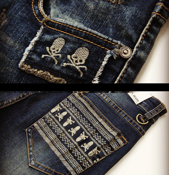 Vintage Skull Dark Denim Jeans - d'143 Men's Clothing