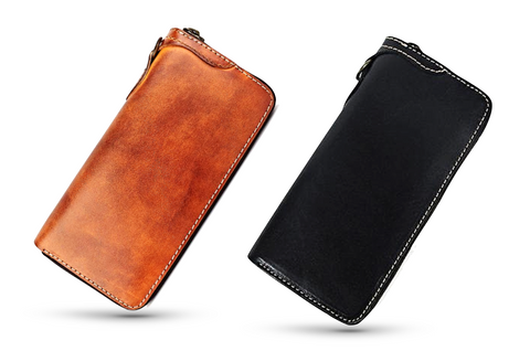 Handmade Genuine Leather Long Zip-Around Wallet for Men - d'143 Men's Clothing