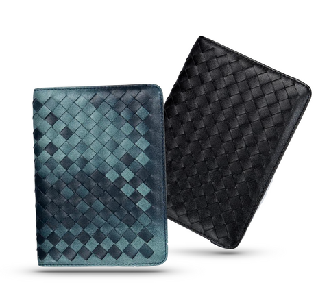 Men's Genuine Leather Hand-Woven PassPort Wallet for Men - d'143 Men's Clothing