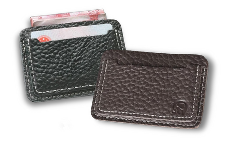 Slim Textured Genuine Leather Card Holder Wallet for Men - d'143 Men's Clothing