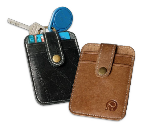 Mini Leather Card Holder Wallet & Keychain - d'143 Men's Clothing