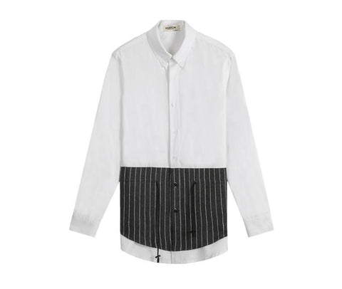 Half Pin-Striped Button-up - d'143 Men's Clothing
