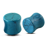 Turquoise Organic Glass Stone Ear Stretchers Plug Earrings - d'143 Men's Clothing