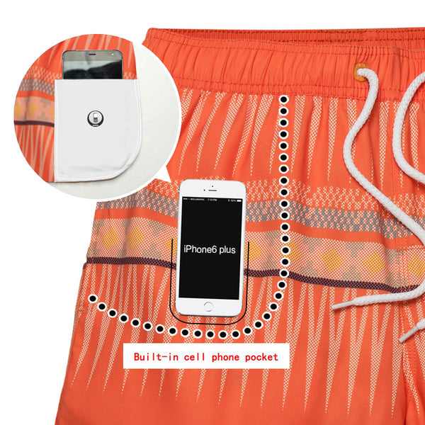 Orange Bohemian Quick Dry Bermudas Boardshorts for Men - d'143 Men's Clothing