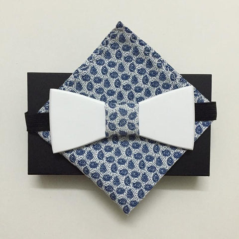 Luxury Wooden Bow Tie with Matching Handkerchief - d'143 Men's Clothing