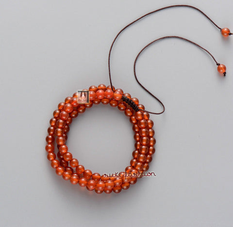 Orange Agate Adjustable Bracelet Necklace - d'143 Men's Clothing