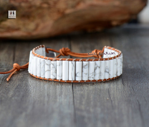 Tube Howlite Single Leather Wrap Bracelets - d'143 Men's Clothing