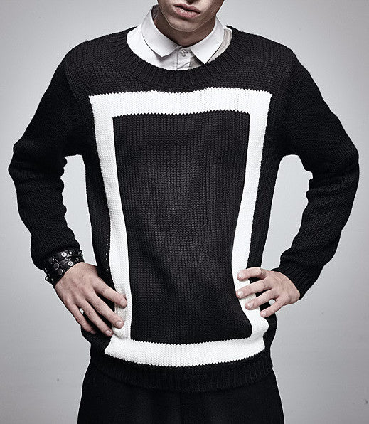 fe871b18d909e3 Geometric O-Neck Knitted Pullover Sweater - d'143 Men's Clothing
