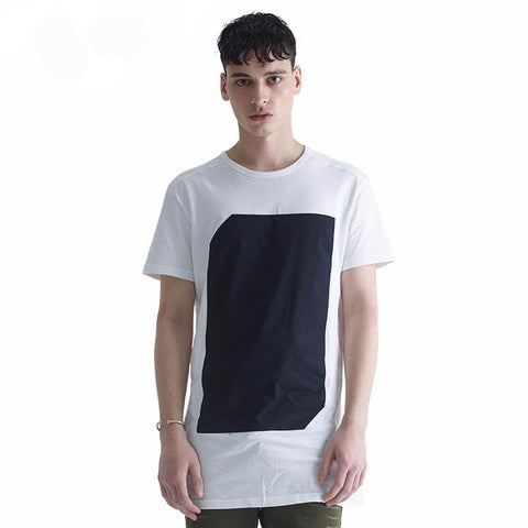 Short Sleeve White Extended Length T-Shirt - d'143 Men's Clothing
