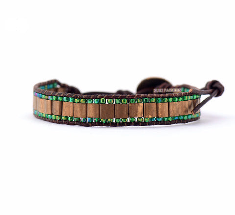 Square Tila Beads Leather Wrap Bracelet - d'143 Men's Clothing