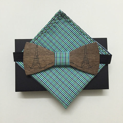 Engrave Walnut Wood Bow Ties and Matching Handkerchief - d'143 Men's Clothing