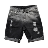 Ripped Gradient Denim Knee Length Shorts for Men - d'143 Men's Clothing