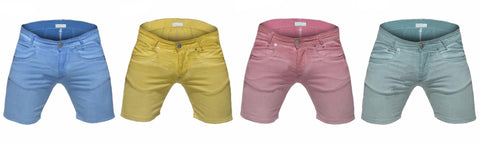 Casual Pastel Zipper Fly Denim Shorts - d'143 Men's Clothing