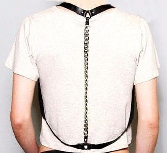 Simple Draped Chain 100% Leather Harness - d'143 Men's Clothing