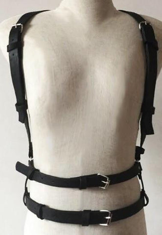 Double Layered Mid-Torso Leather Harness - d'143 Men's Clothing