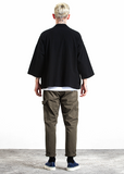 Japanese Kimono Inspired Hemp Jacket for Men | BLACK - d'143 Men's Clothing